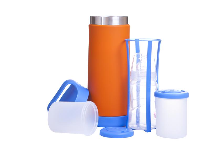 Termos do butelek i do żywności niebiesko- pomarańczowy